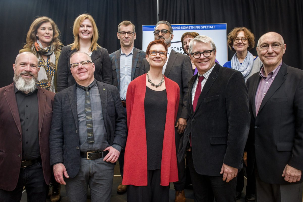 Front Row, Left To Right: Don Pugh, Vice President Of The Daniels Corporation; Tim Jones, Artscape CEO; LoriAnn Girvan, Artscape COO; Adam Vaughan, Member Of Parliament For Spadina–Fort York; John Campbell, Artscape Board Vice Chair. Back Row, Left To Right: Sonja Smits, Toronto Artscape Foundation Board Chair; Sharon Avery, President And CEO, Toronto Foundation; Michael Trent, Performing Arts Program Director, The Metcalf Foundation; Karim Rahemtulla, Managing Director, Artscape Daniels Launchpad; Karen Thorne-Stone, President And CEO, Ontario Media Development Corporation; Cynthia Good, Member Of Ontario Trillium Foundation's Toronto Grant Review Team. Not Pictured: Diaene Vernile, Parliamentary Assistant To The Minister Of Research, Innovation And Science.
