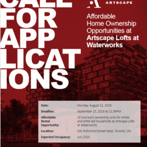 Apply For One Of 15 Artist Live/work Afforable Homeownership Opportunities At Artscape Lofts At Waterworks