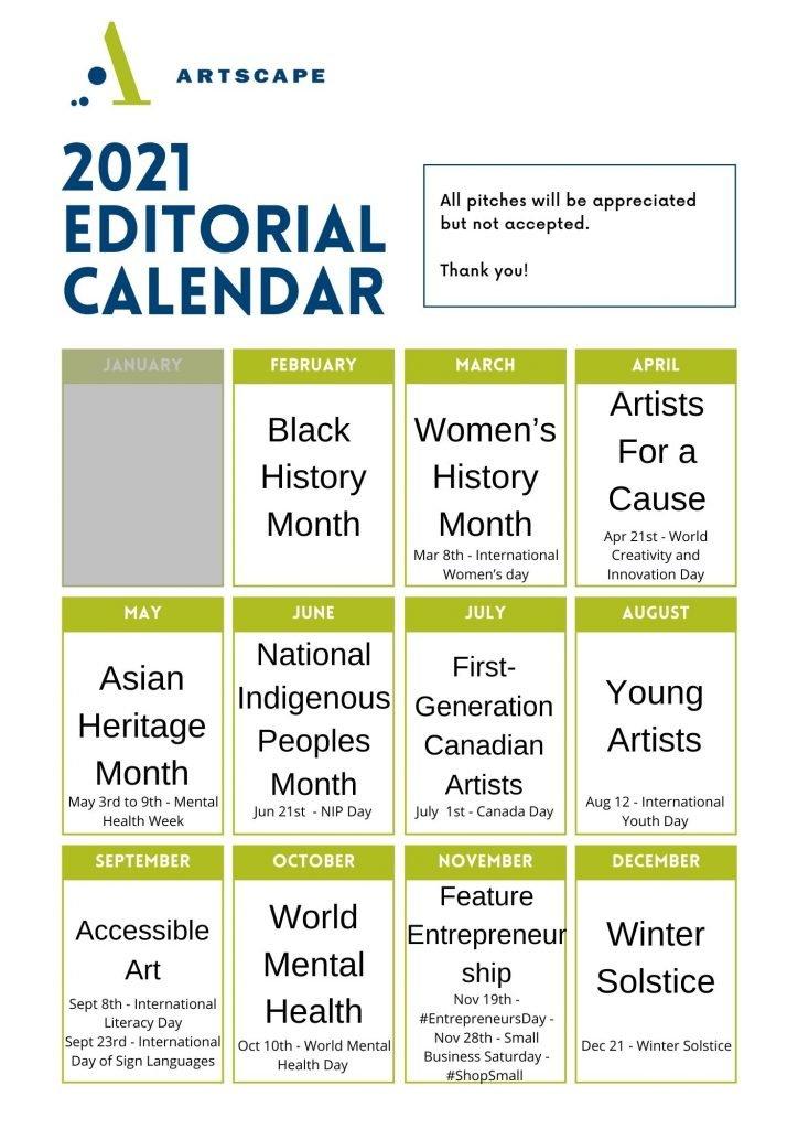 2021 Artscape Editorial Calendar